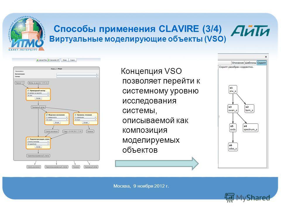 Концепция VSO позволяет перейти к системному уровню исследования системы, описываемой как композиция моделируемых объектов Способы применения CLAVIRE (3/4) Виртуальные моделирующие объекты (VSO) Москва, 9 ноября 2012 г.