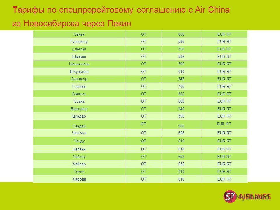 © S7 Тарифы по спецпрорейтовому соглашению с Air China из Новосибирска через Пекин СаньяОТ656EUR RT ГуанчжоуОТ596EUR RT ШанхайОТ596EUR RT ШеньянОТ596EUR RT ШеньчженьОТ596EUR RT В КуньминОТ610EUR RT СингапурОТ848EUR RT ГонконгОТ706EUR RT БангкокОТ802E