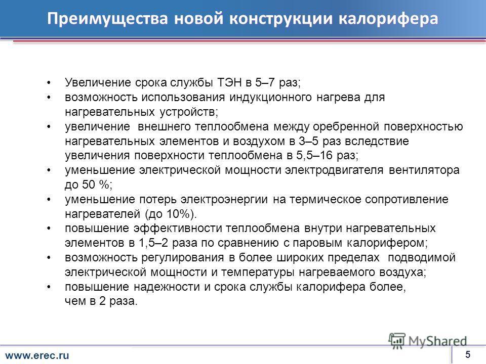 5 rosenergoatom.ru Преимущества новой конструкции калорифера Увеличение срока службы ТЭН в 5–7 раз; возможность использования индукционного нагрева для нагревательных устройств; увеличение внешнего теплообмена между оребренной поверхностью нагревател