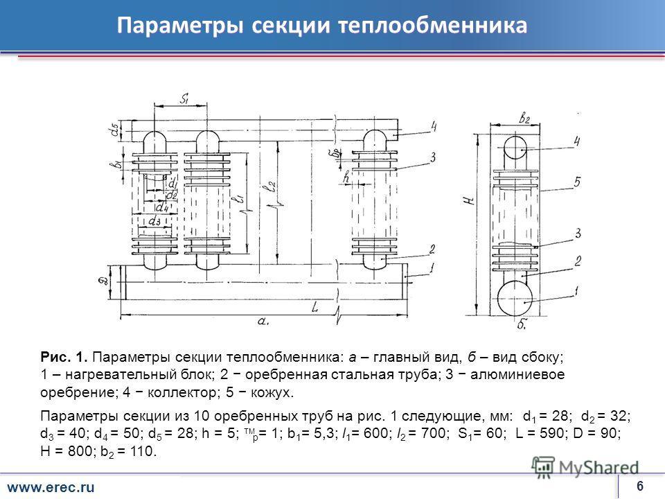 6 rosenergoatom.ru Параметры секции теплообменника Рис. 1. Параметры секции теплообменника: а – главный вид, б – вид сбоку; 1 – нагревательный блок; 2 оребренная стальная труба; 3 алюминиевое оребрение; 4 коллектор; 5 кожух. Параметры секции из 10 ор