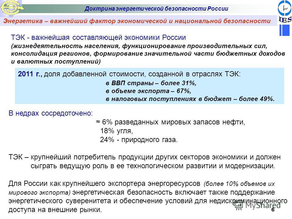6 Энергетика – важнейший фактор экономической и национальной безопасности Доктрина энергетической безопасности России В недрах сосредоточено: 6% разведанных мировых запасов нефти, 18% угля, 24% - природного газа. ТЭК – крупнейший потребитель продукци