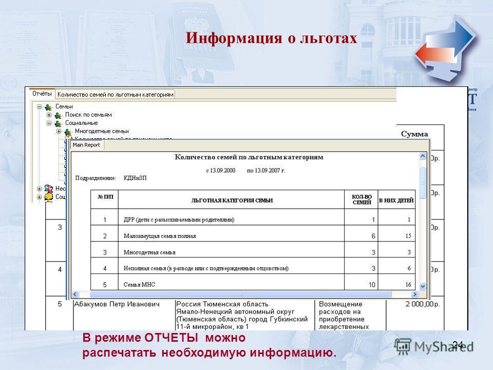24 Информация о льготах В режиме ОТЧЕТЫ можно распечатать необходимую информацию.
