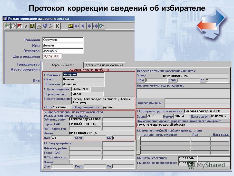 Протокол коррекции сведений об избирателе