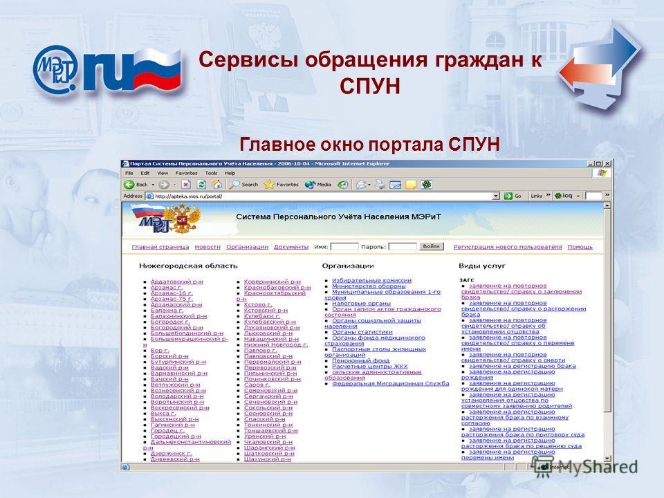 Главное окно портала СПУН Сервисы обращения граждан к СПУН