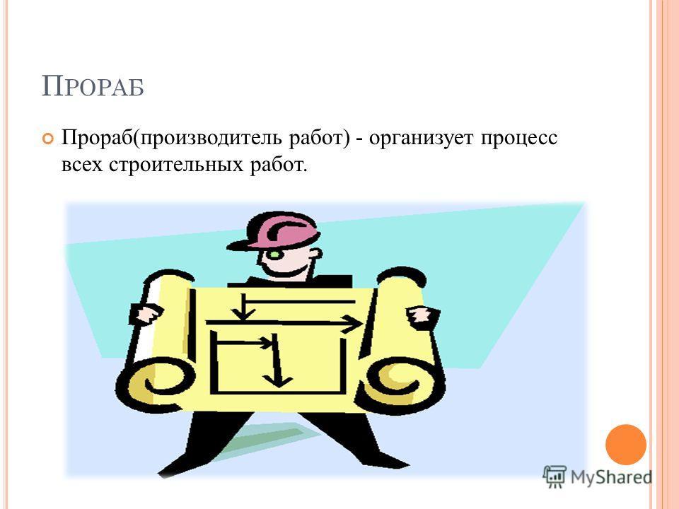 П РОРАБ Прораб(производитель работ) - организует процесс всех строительных работ.