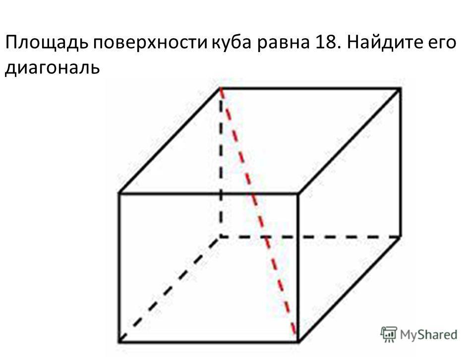 Площадь поверхности куба равна 18. Найдите его диагональ