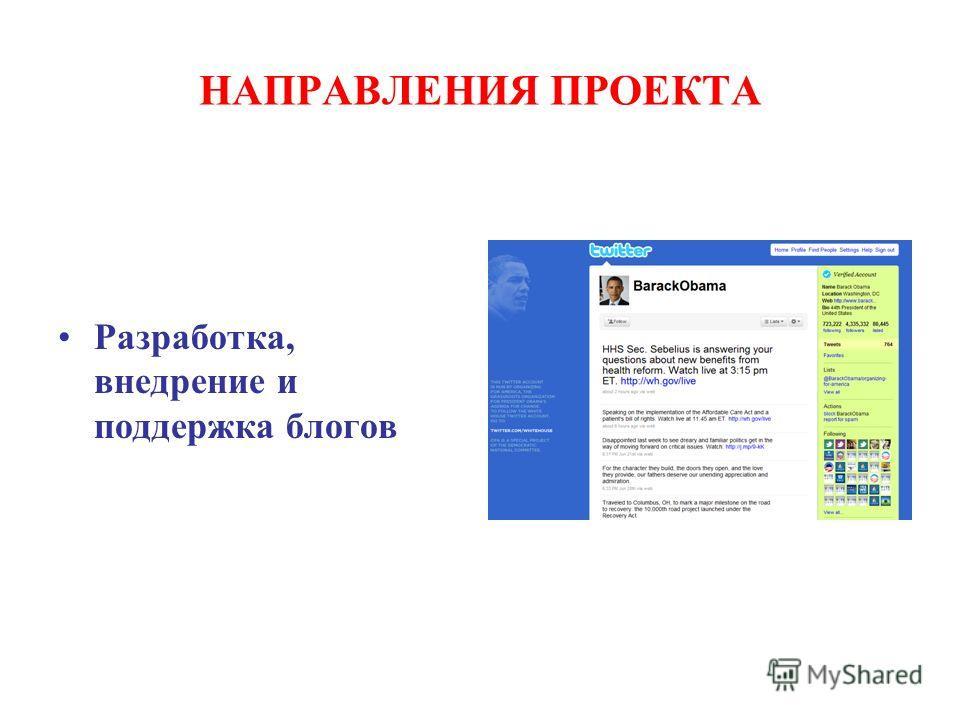НАПРАВЛЕНИЯ ПРОЕКТА Разработка, внедрение и поддержка блогов