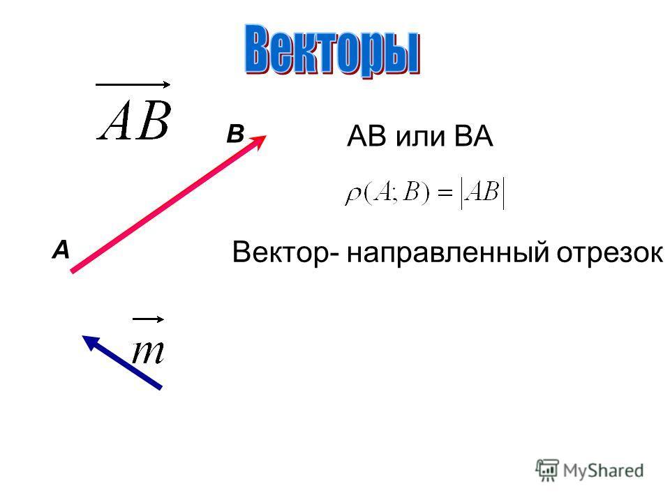 A В АВ или ВА Вектор- направленный отрезок