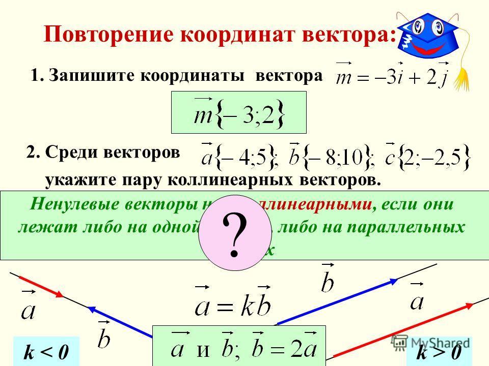 1. Запишите координаты вектора Ненулевые векторы наз. коллинеарными, если они лежат либо на одной прямой, либо на параллельных прямых 2. Среди векторов укажите пару коллинеарных векторов. ? k < 0k > 0 Повторение координат вектора: