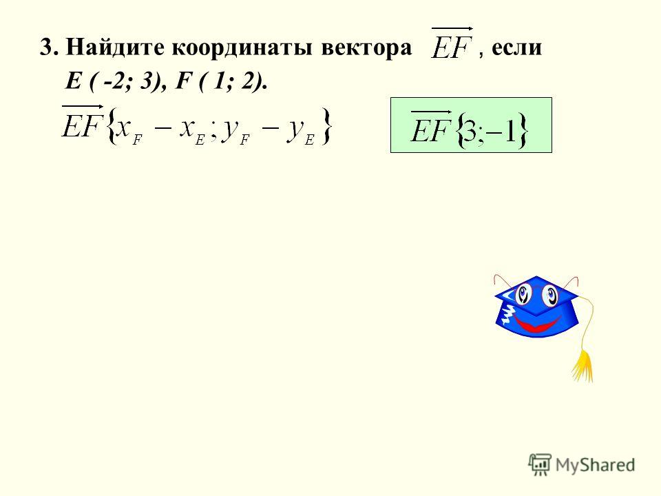 3. Найдите координаты вектора, если Е ( -2; 3), F ( 1; 2).