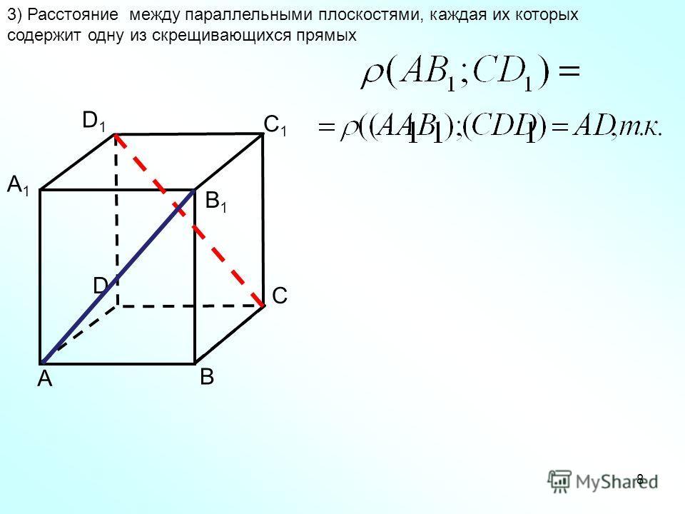 А В С D А1А1 В1В1 C1C1 D1D1 8 3) Расстояние между параллельными плоскостями, каждая их которых содержит одну из скрещивающихся прямых