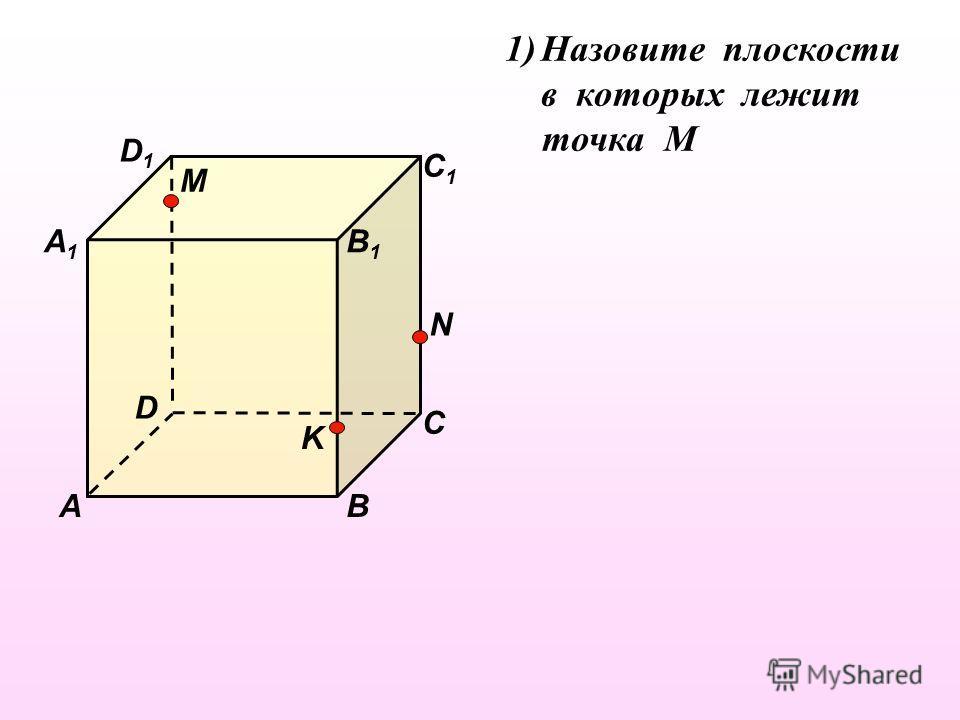 D1D1 В А1А1 А D С1С1 С В1В1 M N K 1)Назовите плоскости в которых лежит точка М