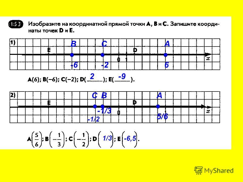 А 6 В -6 С -2 2-9 А 5/6 В -1/3 С -1/2 1/3 -6,5