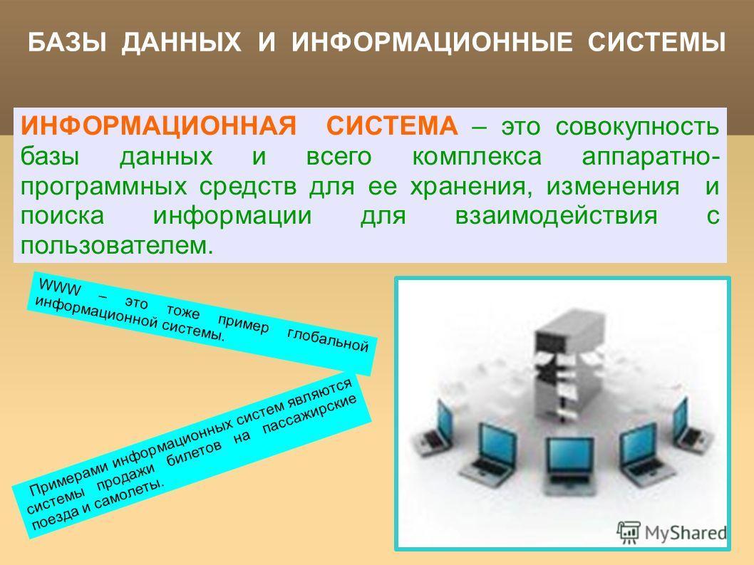 БАЗЫ ДАННЫХ И ИНФОРМАЦИОННЫЕ СИСТЕМЫ ИНФОРМАЦИОННАЯ СИСТЕМА – это совокупность базы данных и всего комплекса аппаратно- программных средств для ее хранения, изменения и поиска информации для взаимодействия с пользователем. Примерами информационных си