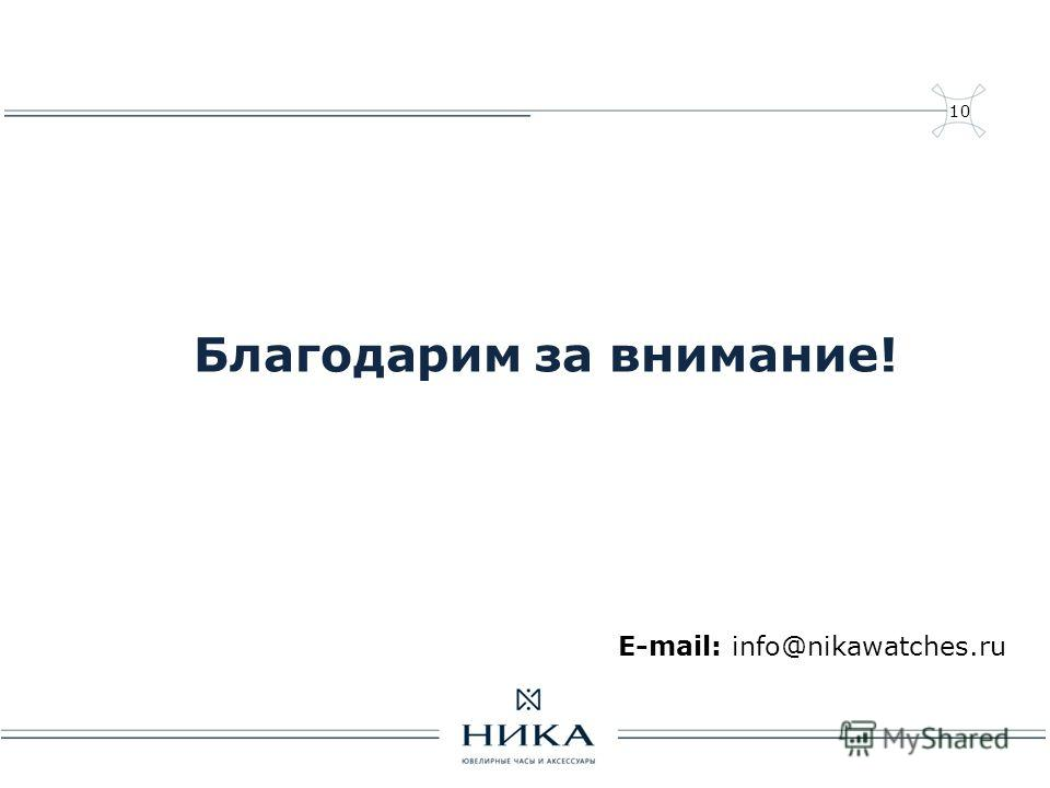 10 Благодарим за внимание! E-mail: info@nikawatches.ru