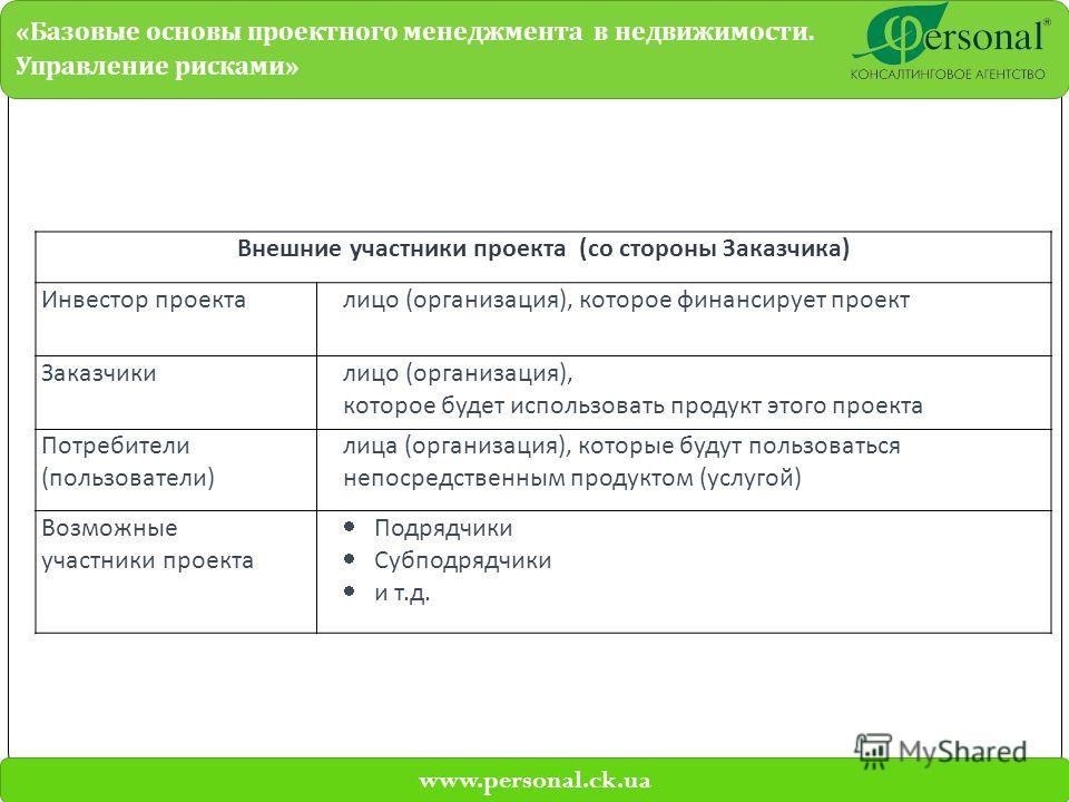 www.personal.ck.ua « Базовые основы проектного менеджмента в недвижимости. Управление рисками » Внешние участники проекта (со стороны Заказчика) Инвестор проекталицо (организация), которое финансирует проект Заказчикилицо (организация), которое будет