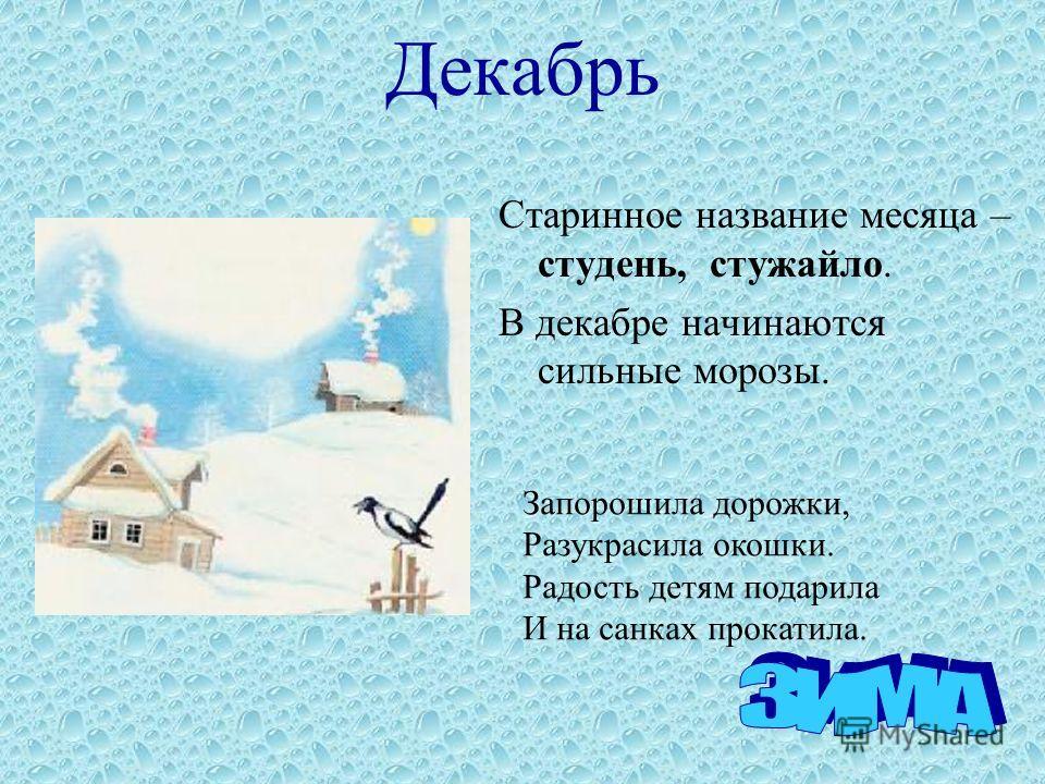 Декабрь Старинное название месяца – студень, стужайло. В декабре начинаются сильные морозы. Запорошила дорожки, Разукрасила окошки. Радость детям подарила И на санках прокатила.