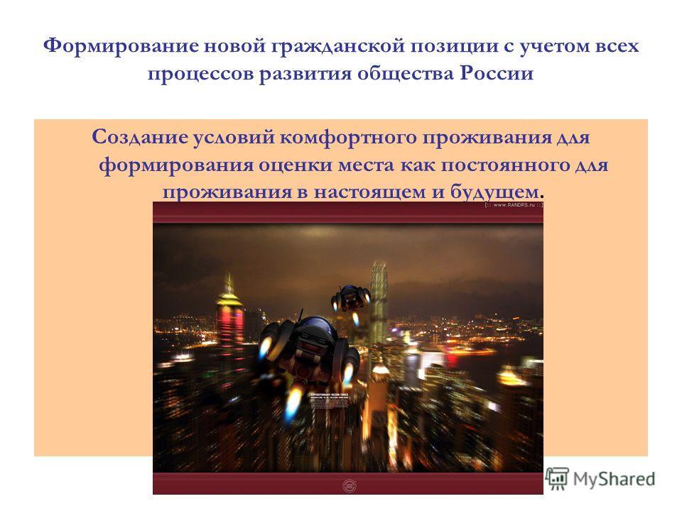 Формирование новой гражданской позиции с учетом всех процессов развития общества России Создание условий комфортного проживания для формирования оценки места как постоянного для проживания в настоящем и будущем.