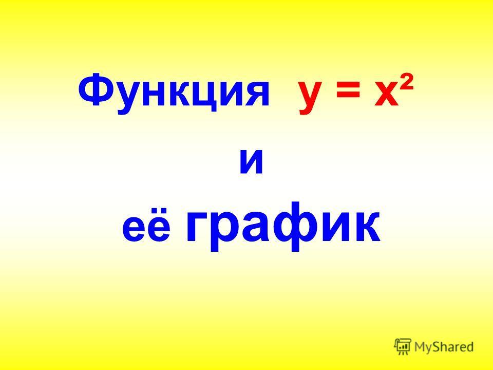 Функция у = х² и её график