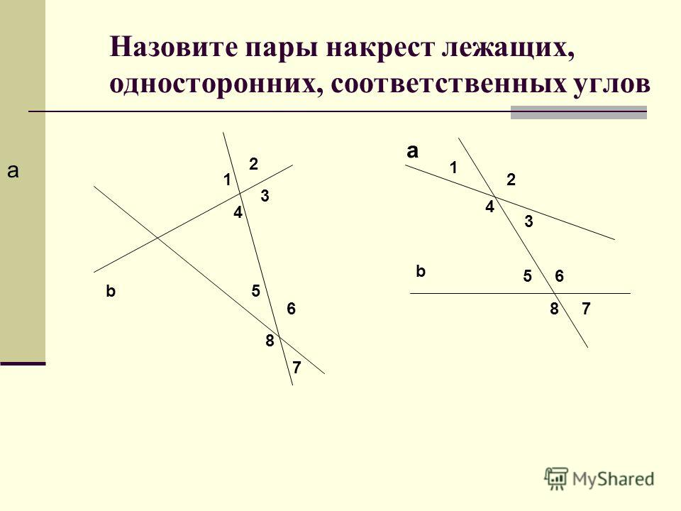 Назовите пары накрест лежащих, односторонних, соответственных углов a b 1 2 3 4 5 6 7 8 a b 1 2 3 4 56 78