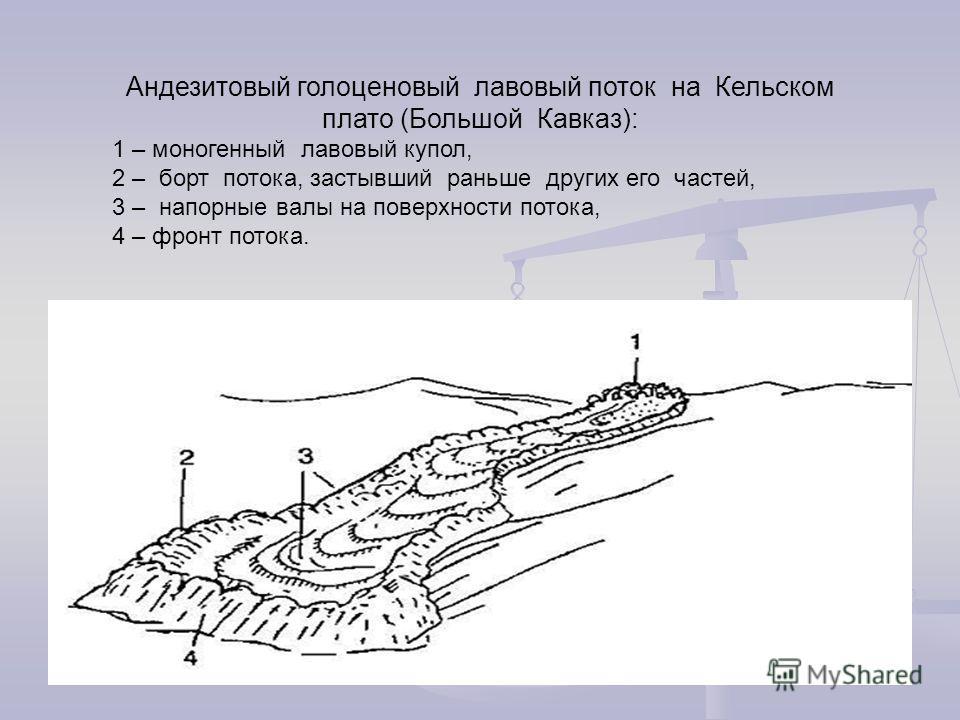 Андезитовый голоценовый лавовый поток на Кельском плато (Большой Кавказ): 1 – моногенный лавовый купол, 2 – борт потока, застывший раньше других его частей, 3 – напорные валы на поверхности потока, 4 – фронт потока.