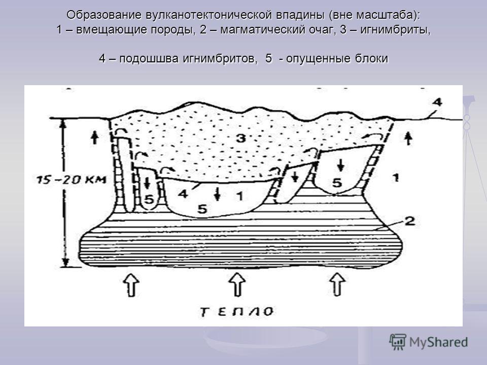 Образование вулканотектонической впадины (вне масштаба): 1 – вмещающие породы, 2 – магматический очаг, 3 – игнимбриты, 4 – подошшва игнимбритов, 5 - опущенные блоки