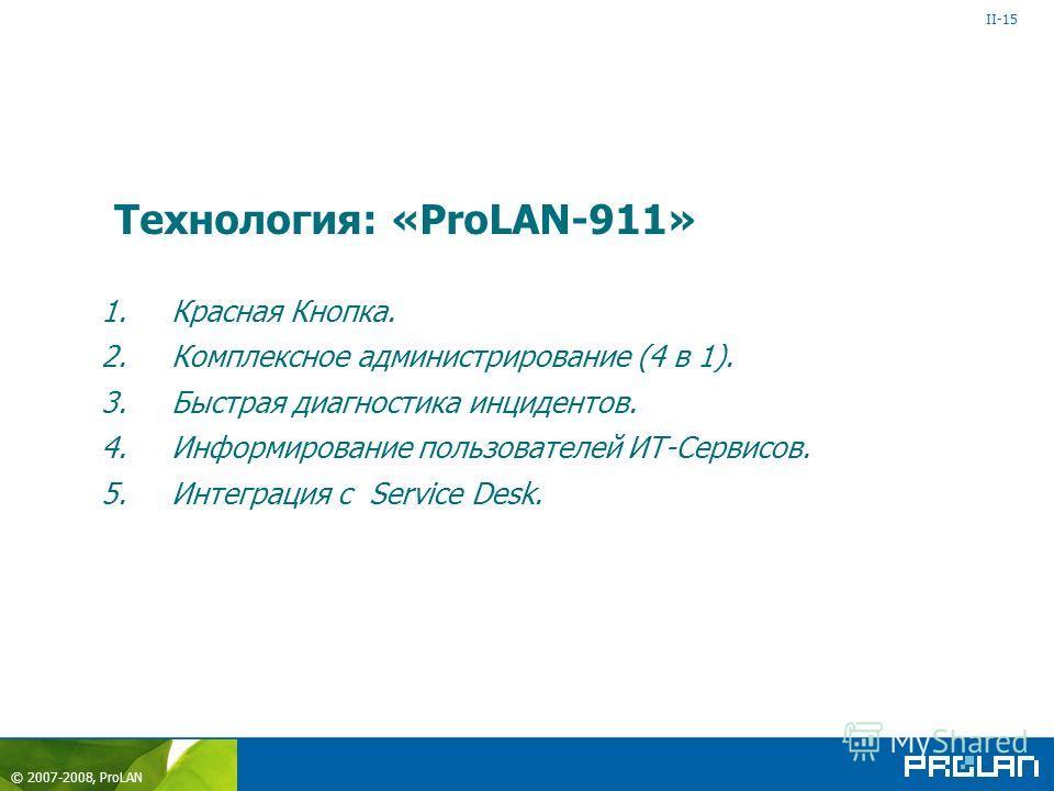 © 2007-2008, ProLAN 1.Красная Кнопка. 2.Комплексное администрирование (4 в 1). 3.Быстрая диагностика инцидентов. 4.Информирование пользователей ИТ-Сервисов. 5.Интеграция с Service Desk. Технология: «ProLAN-911» II-15