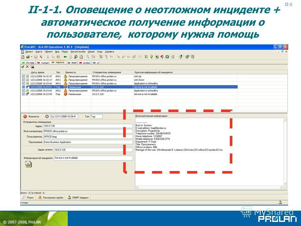 © 2007-2008, ProLAN Help Desk Ctrl+Shift+F2+F2 II-1-1. Оповещение о неотложном инциденте + автоматическое получение информации о пользователе, которому нужна помощь Пользователь Active Directory Data II-3