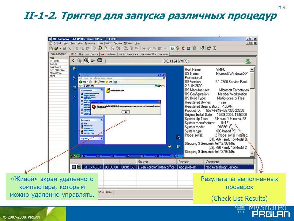 © 2007-2008, ProLAN «Remote Hands» - ON Help Desk Зонд Ctrl+Shift+F2+F2 II-1-2. Триггер для запуска различных процедур Пользователь Connect Check List Results II-4 Результаты выполненных проверок (Check List Results) «Живой» экран удаленного компьюте