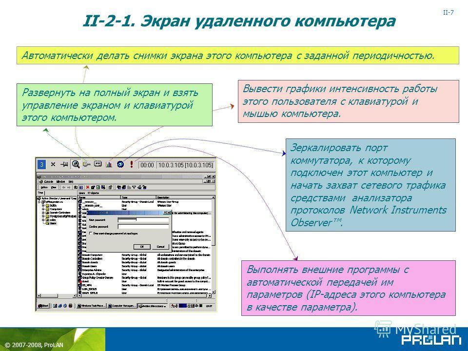 © 2007-2008, ProLAN II-7 Автоматически делать снимки экрана этого компьютера с заданной периодичностью. Вывести графики интенсивность работы этого пользователя с клавиатурой и мышью компьютера. Зеркалировать порт коммутатора, к которому подключен это