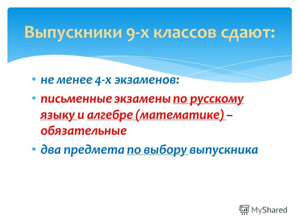 не менее 4-х экзаменов: письменные экзамены по русскому языку и алгебре (математике) – обязательные два предмета по выбору выпускника Выпускники 9-х классов сдают: