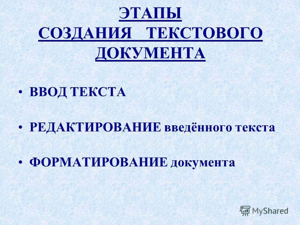 ЭТАПЫ СОЗДАНИЯ ТЕКСТОВОГО ДОКУМЕНТА ВВОД ТЕКСТА РЕДАКТИРОВАНИЕ введённого текста ФОРМАТИРОВАНИЕ документа