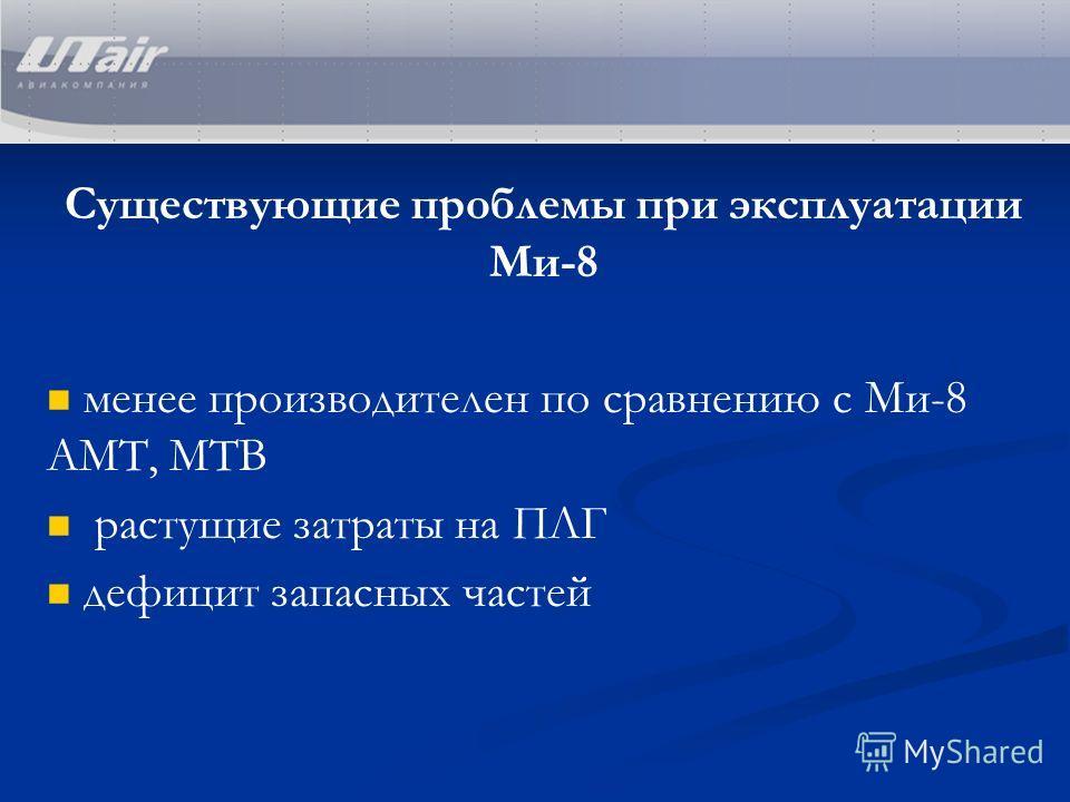 Существующие проблемы при эксплуатации Ми-8 менее производителен по сравнению с Ми-8 АМТ, МТВ растущие затраты на ПЛГ дефицит запасных частей