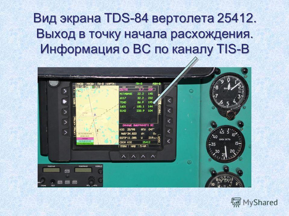 Вид экрана TDS-84 вертолета 25412. Выход в точку начала расхождения. Информация о ВС по каналу TIS-B