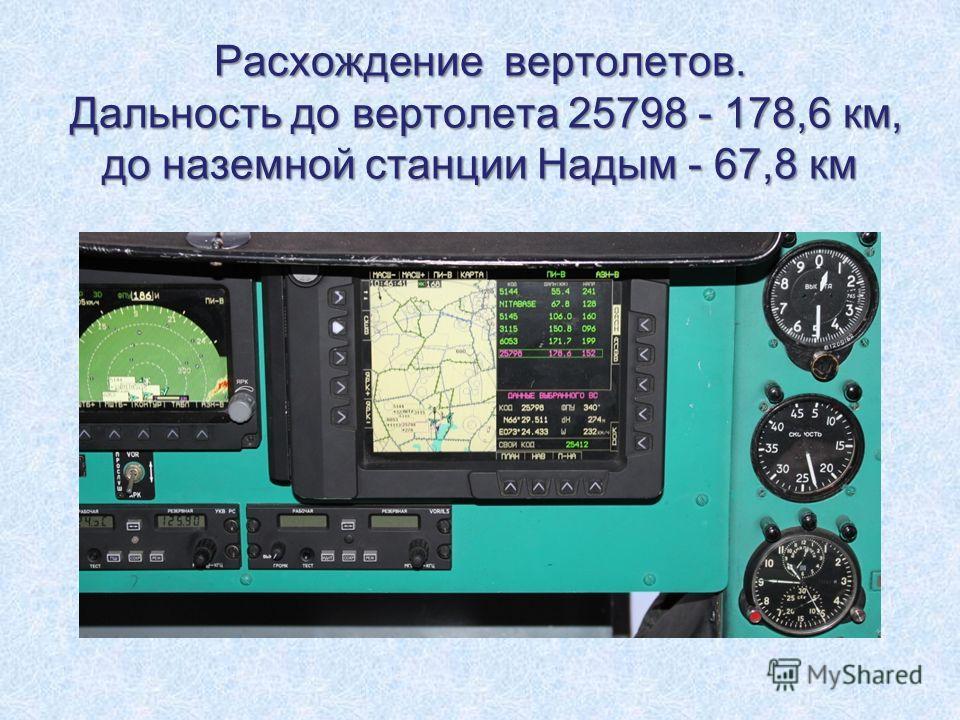 Расхождение вертолетов. Дальность до вертолета 25798 - 178,6 км, до наземной станции Надым - 67,8 км