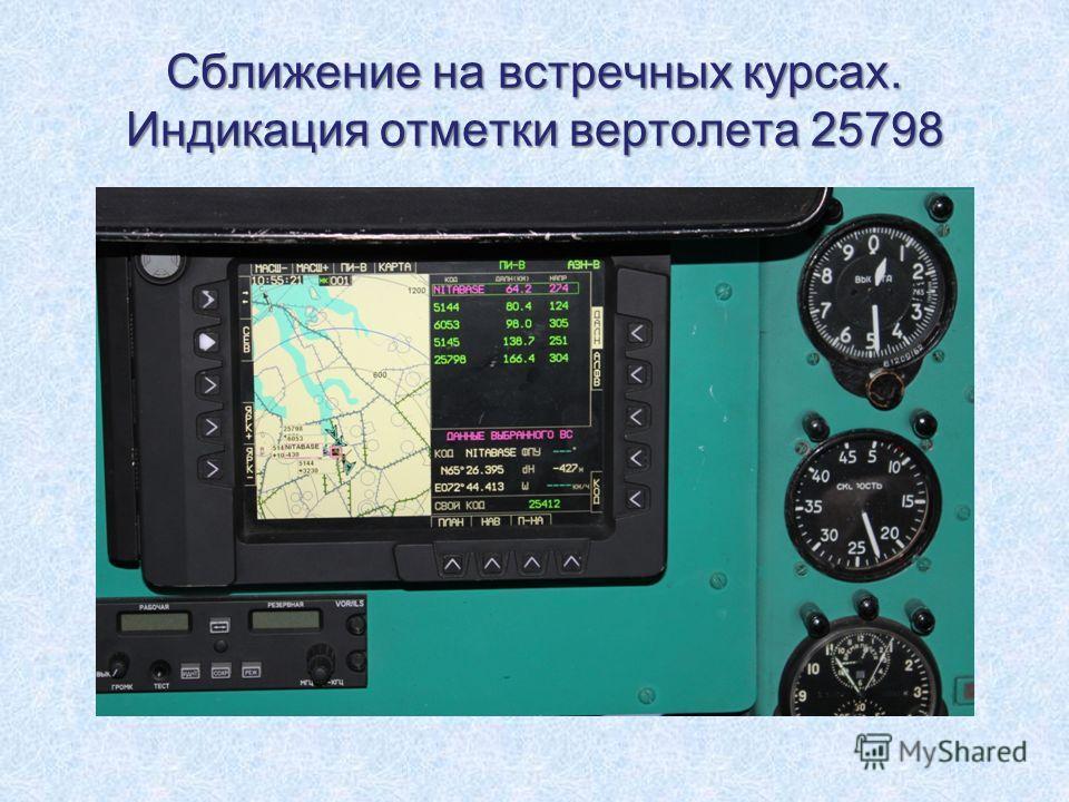 Сближение на встречных курсах. Индикация отметки вертолета 25798