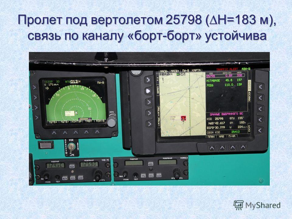 Пролет под вертолетом 25798 (Н=183 м), связь по каналу «борт-борт» устойчива