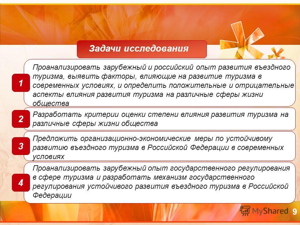 9 Проанализировать зарубежный и российский опыт развития въездного туризма, выявить факторы, влияющие на развитие туризма в современных условиях, и определить положительные и отрицательные аспекты влияния развития туризма на различные сферы жизни общ
