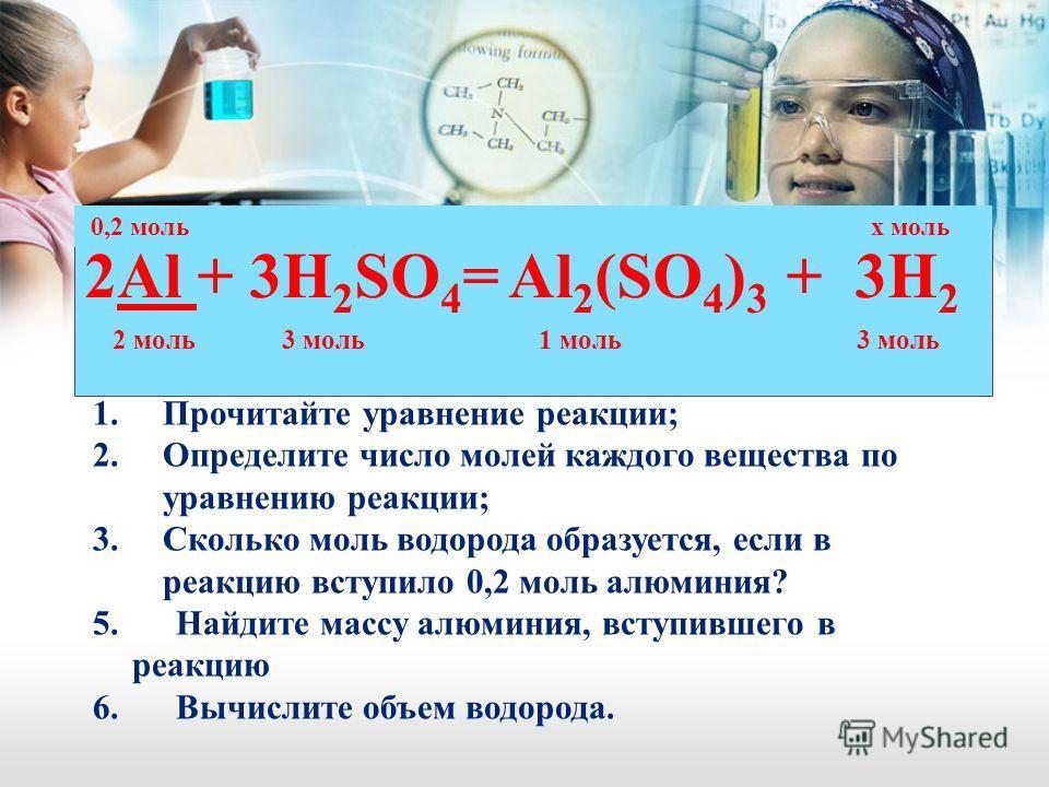 2Al + 3H 2 SO 4 = Al 2 (SO 4 ) 3 + 3H 2 2 моль 3 моль 1 моль 3 моль 1.Прочитайте уравнение реакции; 2.Определите число молей каждого вещества по уравнению реакции; 3.Сколько моль водорода образуется, если в реакцию вступило 0,2 моль алюминия? 5. Найд