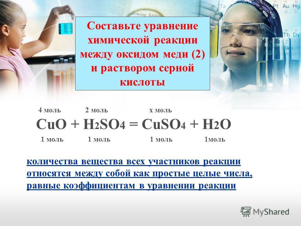 Составьте уравнение химической реакции между оксидом меди (2) и раствором серной кислоты CuO + H 2 SO 4 = CuSO 4 + H 2 O количества вещества всех участников реакции относятся между собой как простые целые числа, равные коэффициентам в уравнении реакц
