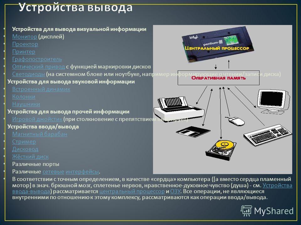 Устройства для вывода визуальной информации Монитор ( дисплей ) Монитор Проектор Принтер Графопостроитель Оптический привод с функцией маркировки дисков Оптический привод Светодиоды ( на системном блоке или ноутбуке, например информирующие о чтении /