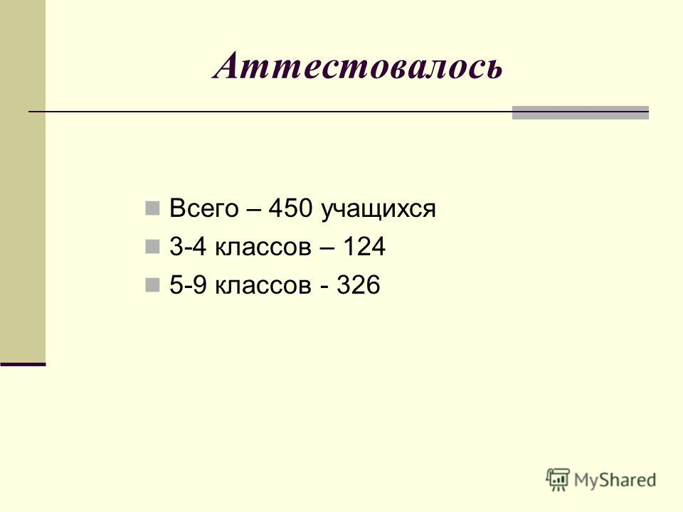 Аттестовалось Всего – 450 учащихся 3-4 классов – 124 5-9 классов - 326