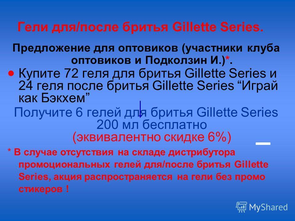 Гели для/после бритья Gillette Series. Предложение для оптовиков (участники клуба оптовиков и Подколзин И.)*. Купите 72 геля для бритья Gillette Series и 24 геля после бритья Gillette Series Играй как Бэкхем Получите 6 гелей для бритья Gillette Serie
