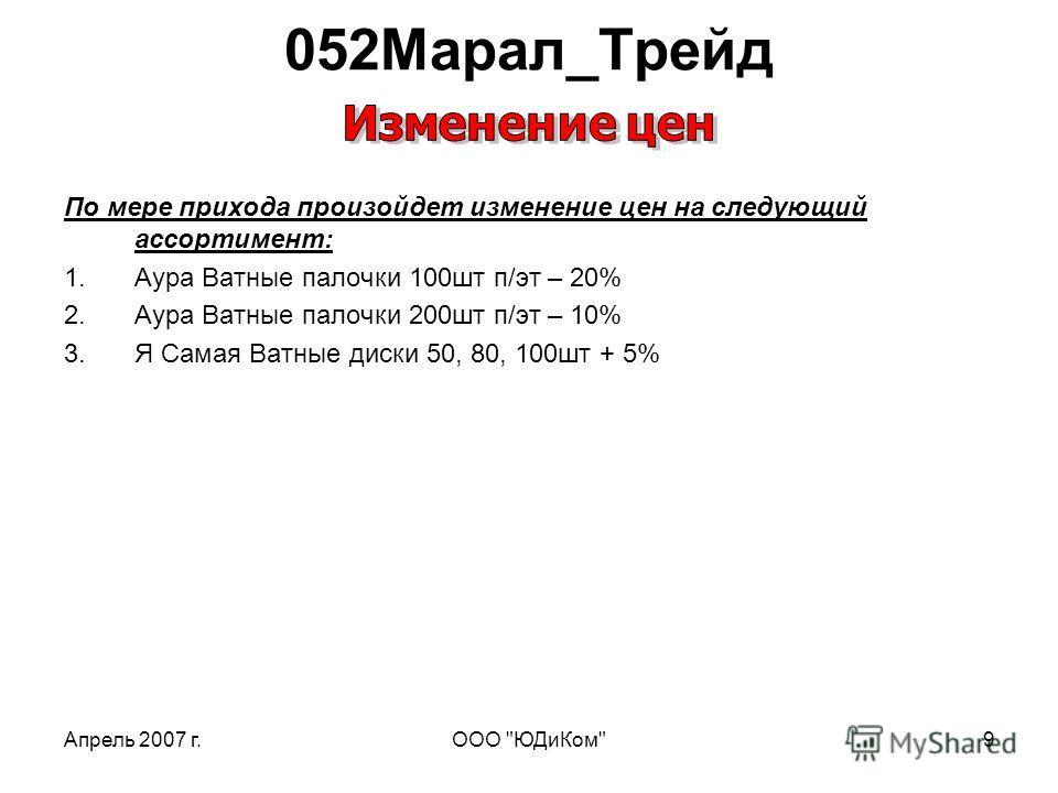 Апрель 2007 г.ООО ЮДиКом9 По мере прихода произойдет изменение цен на следующий ассортимент: 1.Аура Ватные палочки 100шт п/эт – 20% 2.Аура Ватные палочки 200шт п/эт – 10% 3.Я Самая Ватные диски 50, 80, 100шт + 5% 052Марал_Трейд