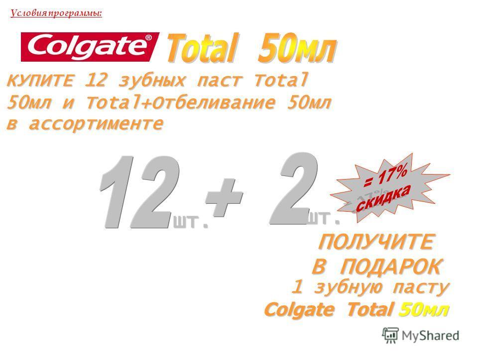 КУПИТЕ 12 зубных паст Total 50мл и Total+Отбеливание 50мл в ассортименте ПОЛУЧИТЕ В ПОДАРОК Условия программы:шт. шт. 1 зубную пасту Colgate Total 50мл