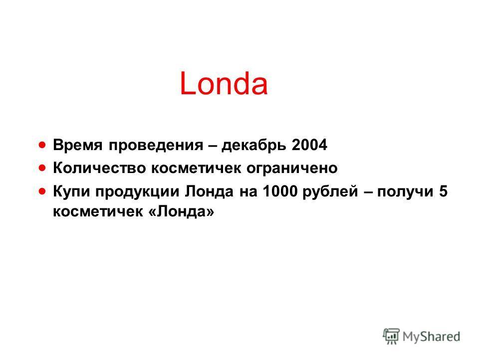 Londa Время проведения – декабрь 2004 Количество косметичек ограничено Купи продукции Лонда на 1000 рублей – получи 5 косметичек «Лонда»