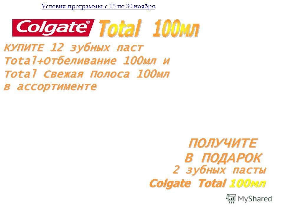 КУПИТЕ 12 зубных паст Total+Отбеливание 100мл и Total Свежая Полоса 100мл в ассортименте ПОЛУЧИТЕ В ПОДАРОК Условия программы: с 15 по 30 ноября 2 зубных пасты Colgate Total 100мл