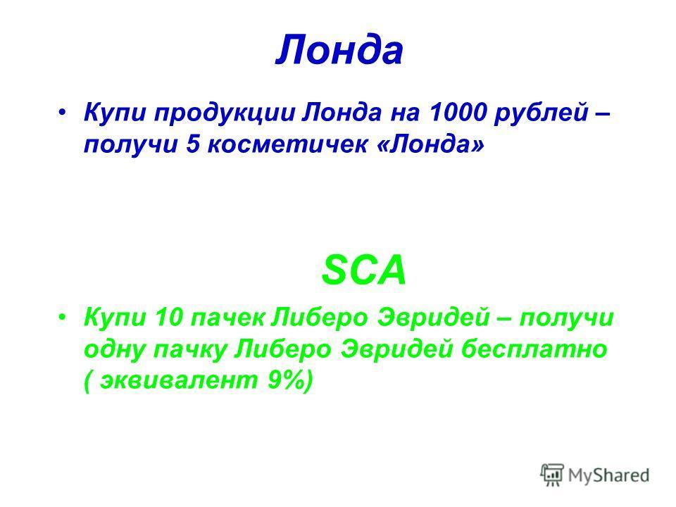 Лонда Купи продукции Лонда на 1000 рублей – получи 5 косметичек «Лонда» SCA Купи 10 пачек Либеро Эвридей – получи одну пачку Либеро Эвридей бесплатно ( эквивалент 9%)