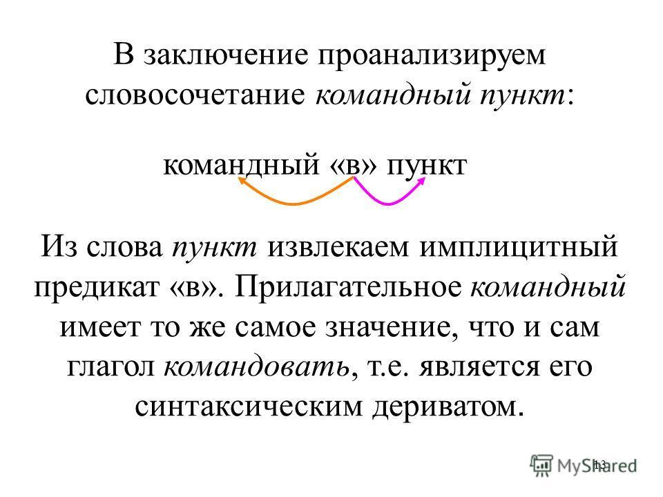 13 В заключение проанализируем словосочетание командный пункт: командный «в» пункт Из слова пункт извлекаем имплицитный предикат «в». Прилагательное командный имеет то же самое значение, что и сам глагол командовать, т.е. является его синтаксическим