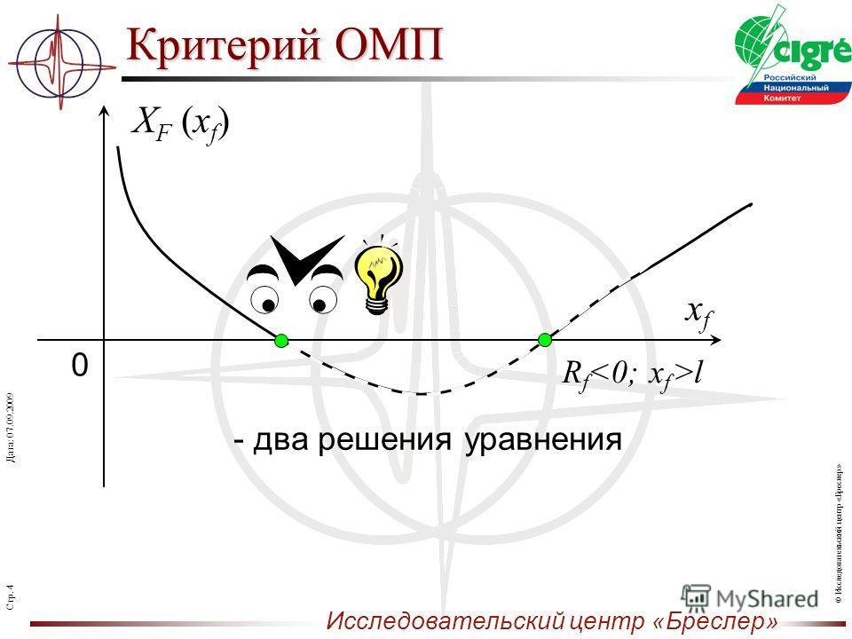 Стр. 4 Исследовательский центр «Бреслер» Дата: 07.09.2009 © Исследовательский центр «Бреслер» Критерий ОМП XF (xf)XF (xf) xfxf 0 - два решения уравнения x f >lR f